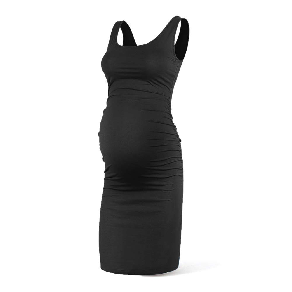 Rnxrbb Women Summer Sleeveless Maternity Dress Pregnancy Tank Scoop Neck Mama Clothes Casual Bodycon Clothing