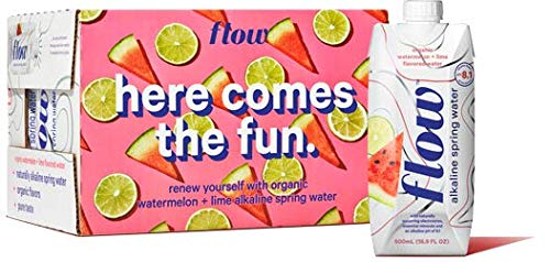 Flow Alkaline Spring Water, Organic Watermelon + Lime, 100% Natural Alkaline Water pH 8.1, Electrolytes + Essential Minerals, Eco-Friendly Pack, 100% Recyclable, BPA-Free, Non-GMO, Pack of 12 x 500ml