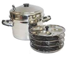 Tabakh 4-Rack Stainless Steel Idli Cooker with Strong Handles, Makes 16 Idlis