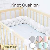 Wonder Space Soft Knot Plush Pillow - Braided Baby Crib Bumper, Fashion Nursery Cradle Decor for Baby Toddler and Childern (Pure White, 118IN / 3M)