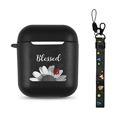 Blessed Black Soft TPU Case Frosted Protective Cover Anti Fingerprints Compatible with AirPods 2 & 1 with Wristlet Strap