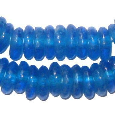 African Disk Recycled Glass Beads - Full Strand of Eco-Friendly Ghanaian Rondelle Beads - The Bead Chest (Azul)