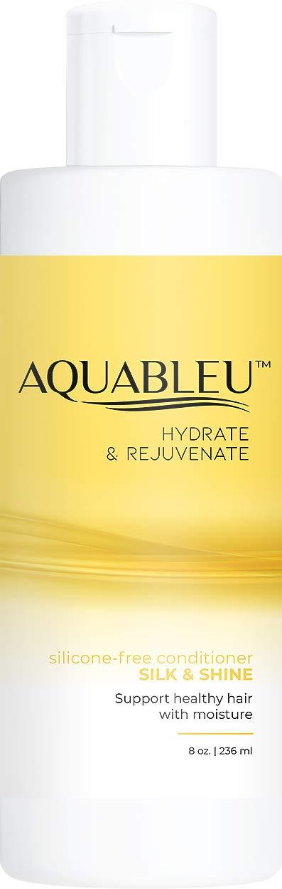 Aquableu Silk & Shine Conditioner - Moisturizing & Hydrating- Natural Anti Frizz Formula for Coarse & Curly Hair - Silk Amino Acid & Argan Oil - Shea Butter - Sulfate & Paraben Free (8oz)