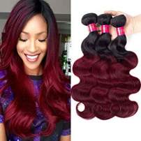 Black Rose Hair Body Wave Brazilian Ombre Human Virgin Remy Hair Bundles Extension Color 1b/99j Burgundy Hair Weaves (Pack of 3, 10 12 14)