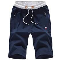 FoxQ 10 Inch Inseam Men's Shorts with Zipper Pockets Casual Sports Elastic Waistline Drawstring (Navy Blue, XXXX-Large)