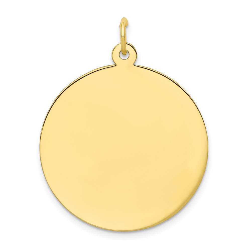 10k Yellow Gold .013 Gauge Circular Engravable Disc Pendant Charm Necklace Round Plain Fine Jewelry For Women Gifts For Her
