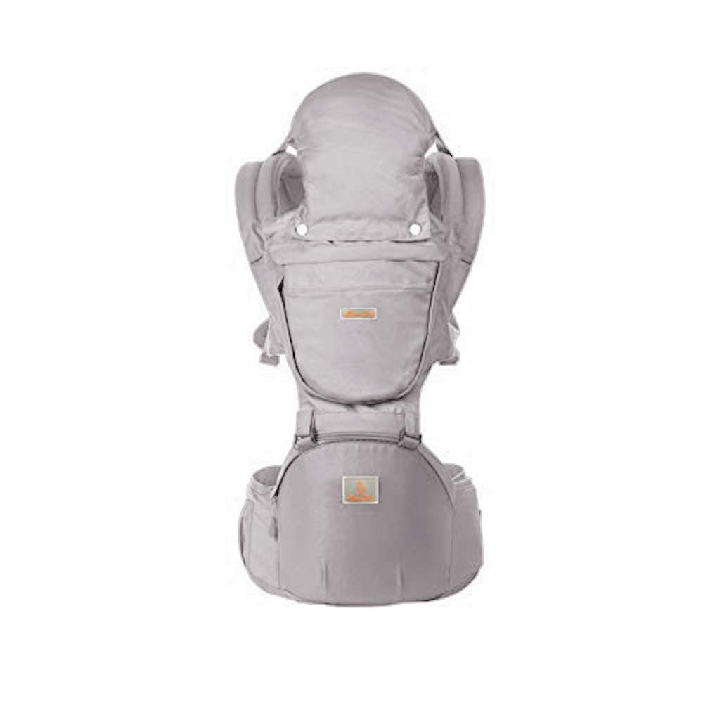 Baby Carrier with Hip Seat 360 Ergonomic 6-in-1 Convertible Hipseat Baby Waist Stool Carrier for All Seasons, Toddler Tush Stool, Baby Wrap Carrier Front and Back (Grey)
