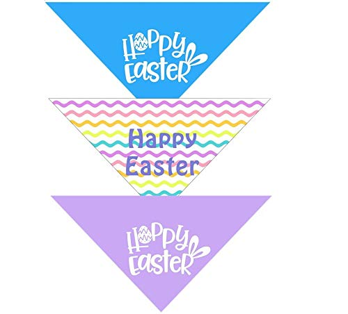 Native Pup Easter Dog Bandana| 3-Pack| Spring Scarf Set in Pastel, Purple and Blue