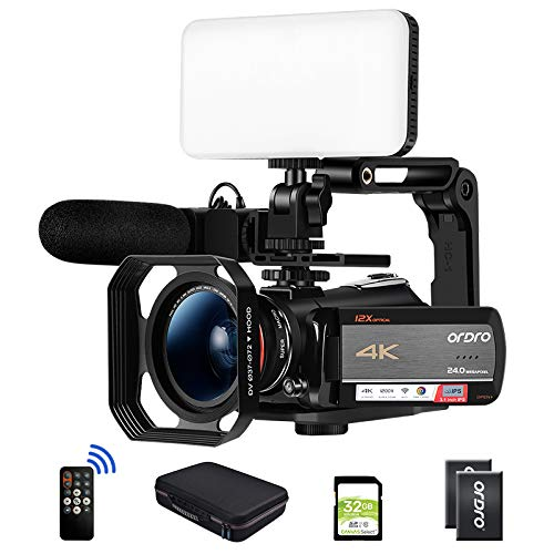 ORDRO AC5 Optical Zoom 4K Camcorder Ultra HD WiFi Video Camera, 3.1 Inch IPS Touch Screen, Microphone, Wide Lens, Hood, 2 Batteries, LED Light,Handle,32GB SD Card, Carrying case