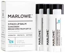 MARLOWE. No. 124 Lip Balm 3-Pack with Sunscreen SPF 15 & Coconut Oil   Hydrates & Protects Dry or Chapped Lips   Mint Flavor   For Men and Women   Made with Beeswax, Coconut, Jojoba, Shea Butter, Aloe