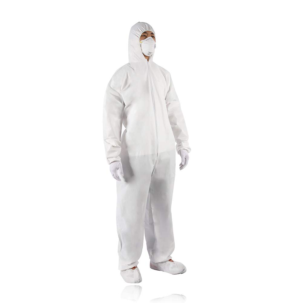Golden Scute Disposable Coveralls with Attached Hood & Elastic Cuff, Zipper Front White Coverall Hazmat Suit for Men, Painter (6 Pack, X-Large)