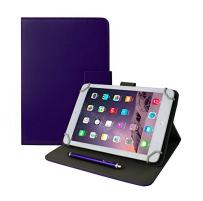 Emartbuy Universal 7 Inch - 8 Inch Purple Multi Angle Folio Wallet Case Cover with Card Slots and Stylus Pen Compatible with Selected Devices Listed Below
