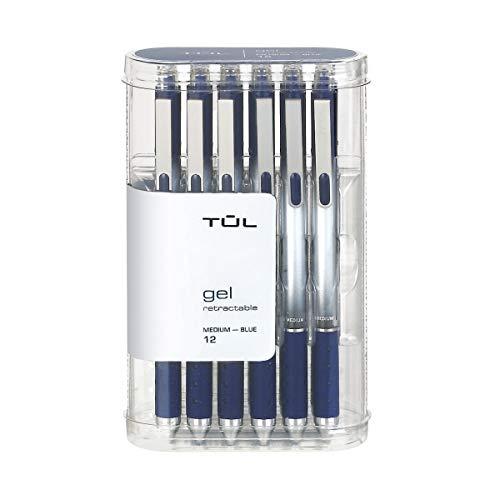 TUL Gel Pens, Retractable, Medium Point, 0.7 mm, Gray Barrel, Blue Ink, Pack of 12
