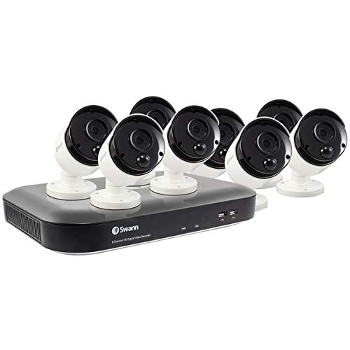 Swann Home Security Camera System, 4K Ultra HD, 8 Channel 8 Bullet Cameras, Indoor/Outdoor Wired Surveillance CCTV DVR, Color Night Vision, 2-Way Audio, with 2TB Hard Drive, SWDVK-855808