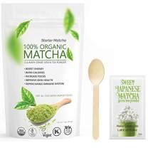Starter Matcha 12oz (3 Items Set) - USDA Organic, Non-GMO Certified, Vegan and Gluten-Free. Pure Matcha Green Tea Powder + Wooden Spoon + Sweet Japanese Matcha