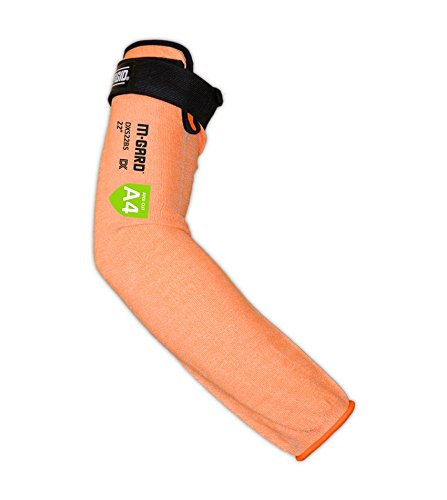 """MAGID Cut Resistant Protective Arm Sleeves with Thumb Slot, 1 Sleeve, Orange I Thumbslot: No, 22"""""""