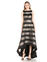 Adrianna Papell Women's Sleevless Striped Lace and Mikado Hi Low Gown