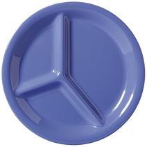 """G.E.T. Enterprises CP-10-PB 10.25"""" 3 Compartment Plate (Qty, 12), Melamine, Blue (Pack of 12)"""