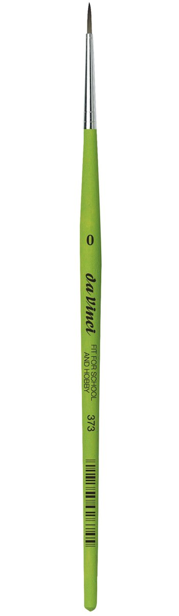 da Vinci Student Series 373 Fit for School and Hobby Paint Brush, Round Elastic Synthetic with Green Matte Handle, Size 0