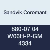 Sandvik Coromant, 880-07 04 W06H-P-GM 4334, CoroDrill 880 Insert for Drilling, Carbide, Square, Right Hand Cut, 4334 Grade, Ti(C,N)+Al2O3+TiN, Wiper, Inveio Coating Technology