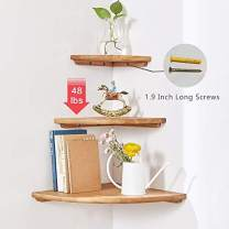 "Wooden Corner Shelf, 1 Pcs Round End Hanging Wall Mount Floating Shelves Storage Shelving Table Bookshelf Drawers Display Racks Bedroom Office Home Décor Accents (Oak, 10"")"