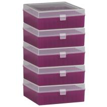 Bel-Art F18851-0015 100-Place Plastic Freezer Storage Boxes; 6 x 5.7 x 2.2 in. H, Purple (Pack of 5)