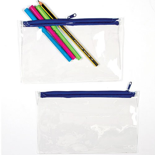 Baker Ross Transparent Pencil Cases for Children to Decorate Personalize and Store Pens and Markers (Pack of 10)