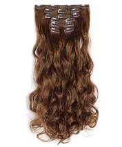 """OneDor 20"""" Curly Full Head Clip in Synthetic Hair Extensions 7pcs 140g (12#-Light Brown)"""