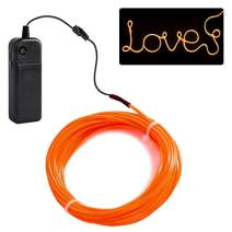 jiguoor EL Wire with Battery Pack 15ft / 5M Super Bright Halloween Light Neon Tube Neon Light Wire Glowing strobing of 360 Degrees of Illumination for Festival, Party Decoration