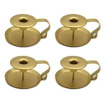 VINCIGANT Pack of 4 Gold Taper Candle Holder, Chamberstick Candlestick Holders,Table Candle Holders for Wedding Party Ceremony, Candlelight Stand for Halloween Christmas Dining Room Decoration Display