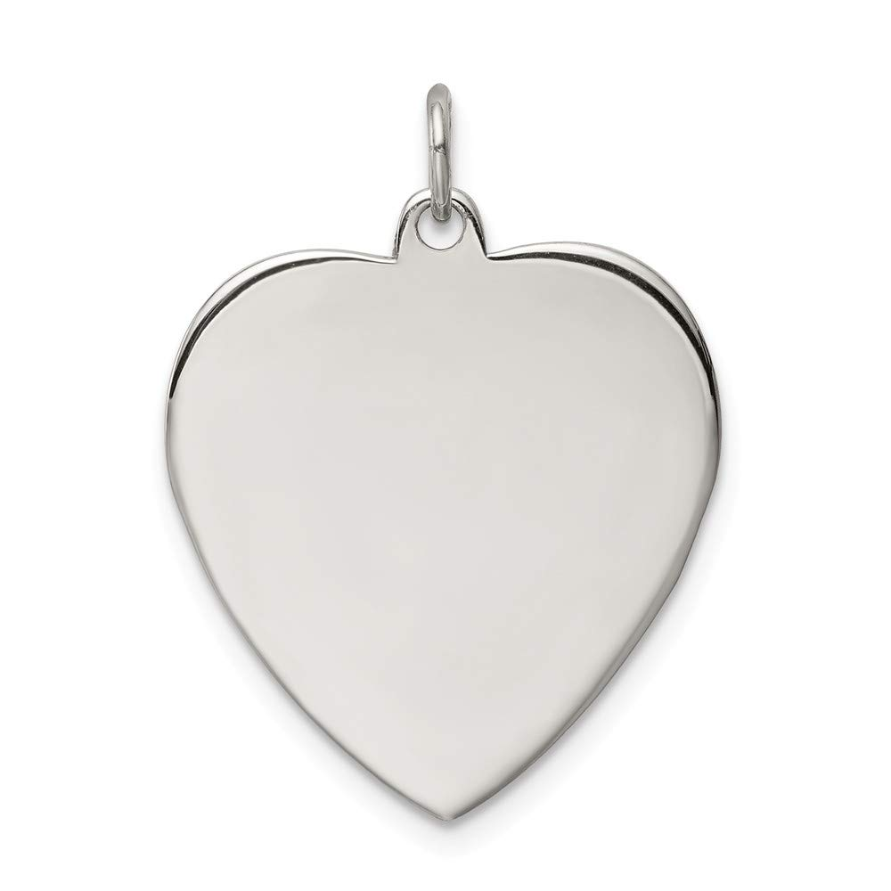 925 Sterling Silver Rh Plt Engraveable Heart Front Back Disc Pendant Charm Necklace Engravable Simple Shaped Plain Fine Mothers Day Jewelry For Women Gifts For Her