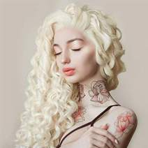 Imstyle Platinum Blonde Long Loose Curly Lace Front Wigs Wavy Daenerys Wig For Women Cosplay High Density Bounce Fluffy Hair Khaleesi Wig (613 Blonde)