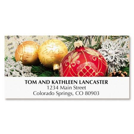 Ornament Christmas Address Labels - Set of 48, Large Self-Adhesive, Flat-Sheet Labels