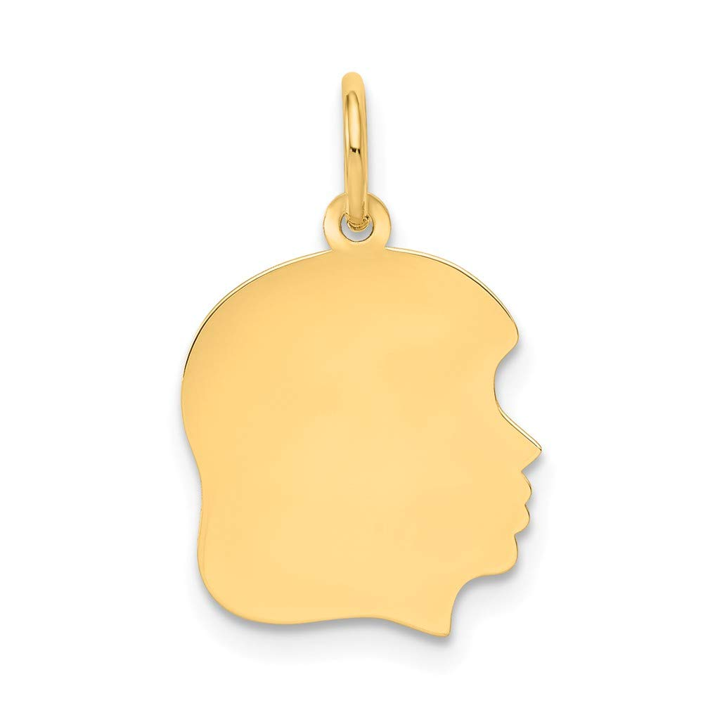 10k Yellow Gold Medium .013 Gauge Facing Right Engravable Girl Head Pendant Charm Necklace Disc Boy Fine Mothers Day Jewelry For Women Gifts For Her