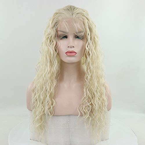 Candice Hair Synthetic Wig Lace Front Wigs Long Loose Curly with Baby Hair Natural Hairline Heat Resistant Fiber Lace Wigs Swiss Natural White Wig For Black Women 180% Density 24 Inch 613B