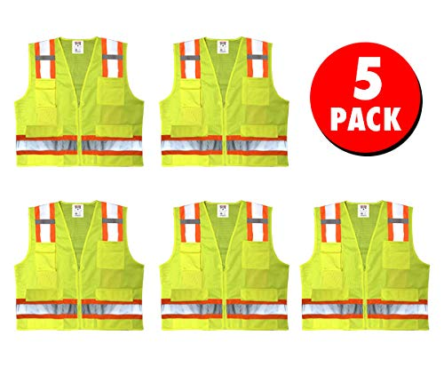 Safety Main Premium High Visibility Surveyor Vest Solid Front Mesh Back, 5 Pack, Large