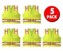 Safety Main Premium High Visibility Surveyor Vest Solid Front Mesh Back, 5 Pack, 3X-Large
