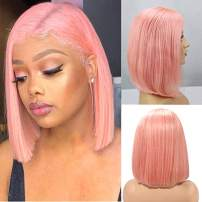 Pink T Part Bob Wigs Brazilian Virgin Human Hair Straight Bob Wigs for Women Pre Plucked Natural Hairline 13x1x4 Swiss Lace Pink Bob Wig 14Inch with Baby Hair 180% Density Lace Wigs