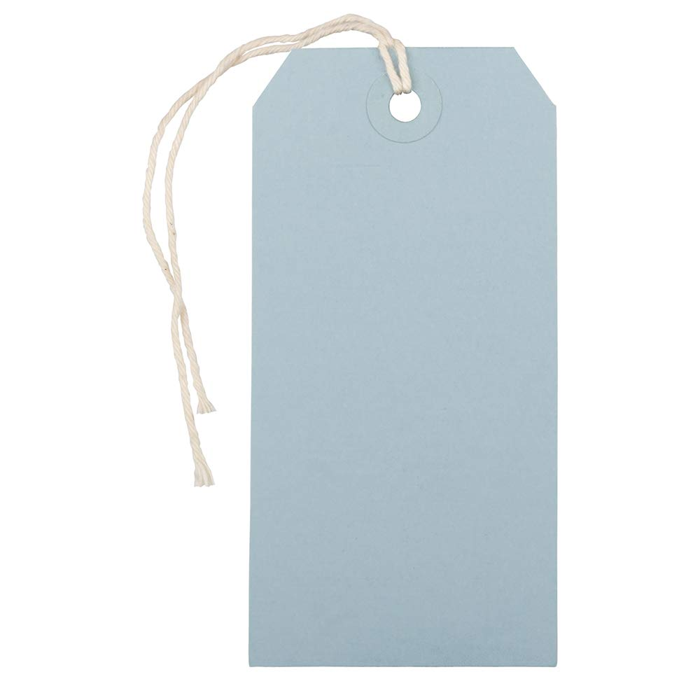 JAM PAPER Gift Tags with String - Medium - 4 3/4 x 2 3/8 - Baby Blue - Bulk 100/Pack