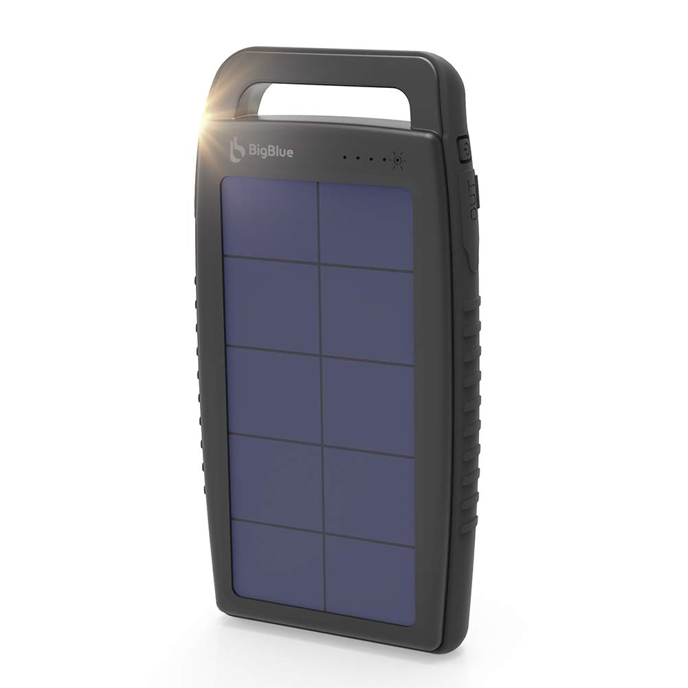 BigBlue Solar Battery Charger 10000mAh IPX4 Waterproof Dual USB Ports Emergency Solar Powered Charger with 6 LED Light Fast Charging for Cellphone Tablet and More Devices