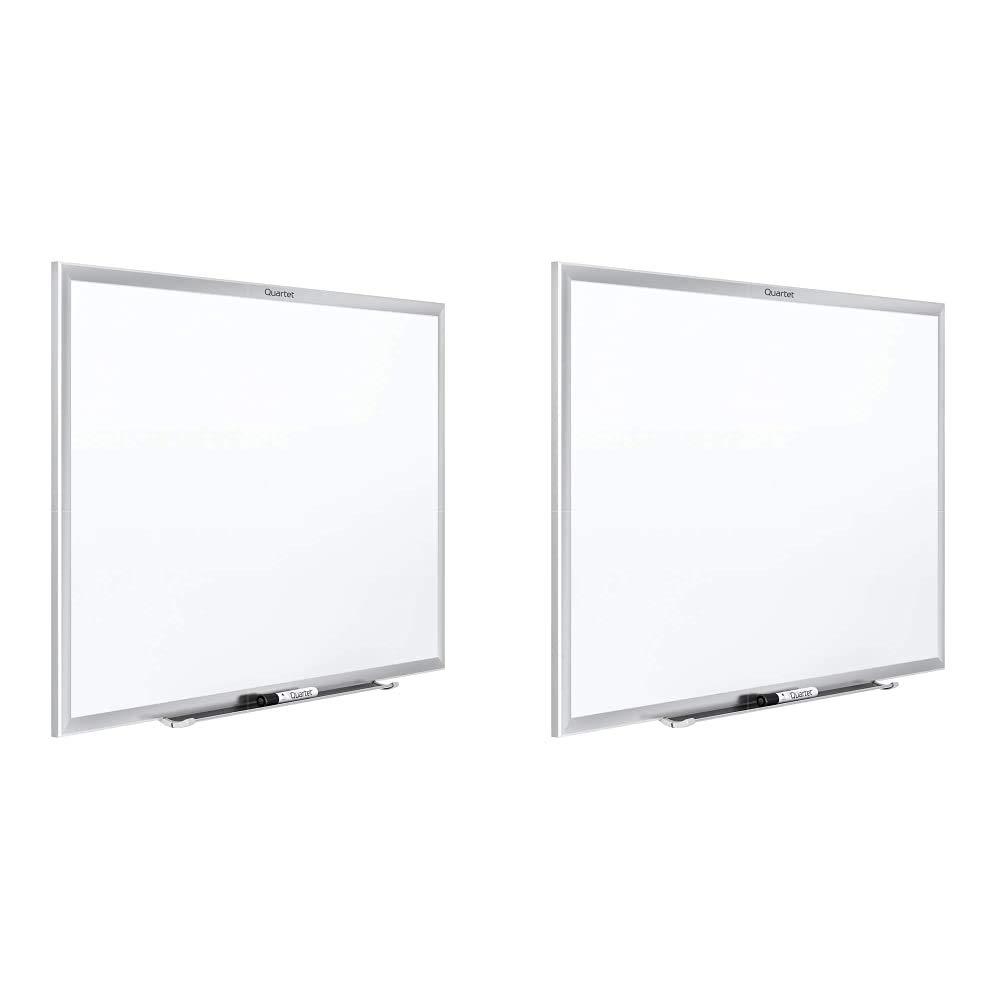 Quartet Magnetic Whiteboard, 6' x 4' White Board, Nano-Clean, Silver Aluminum Frame (SM537) & Magnetic Whiteboard, 5' x 3' White Board, Nano-Clean, Silver Aluminum Frame (SM535)