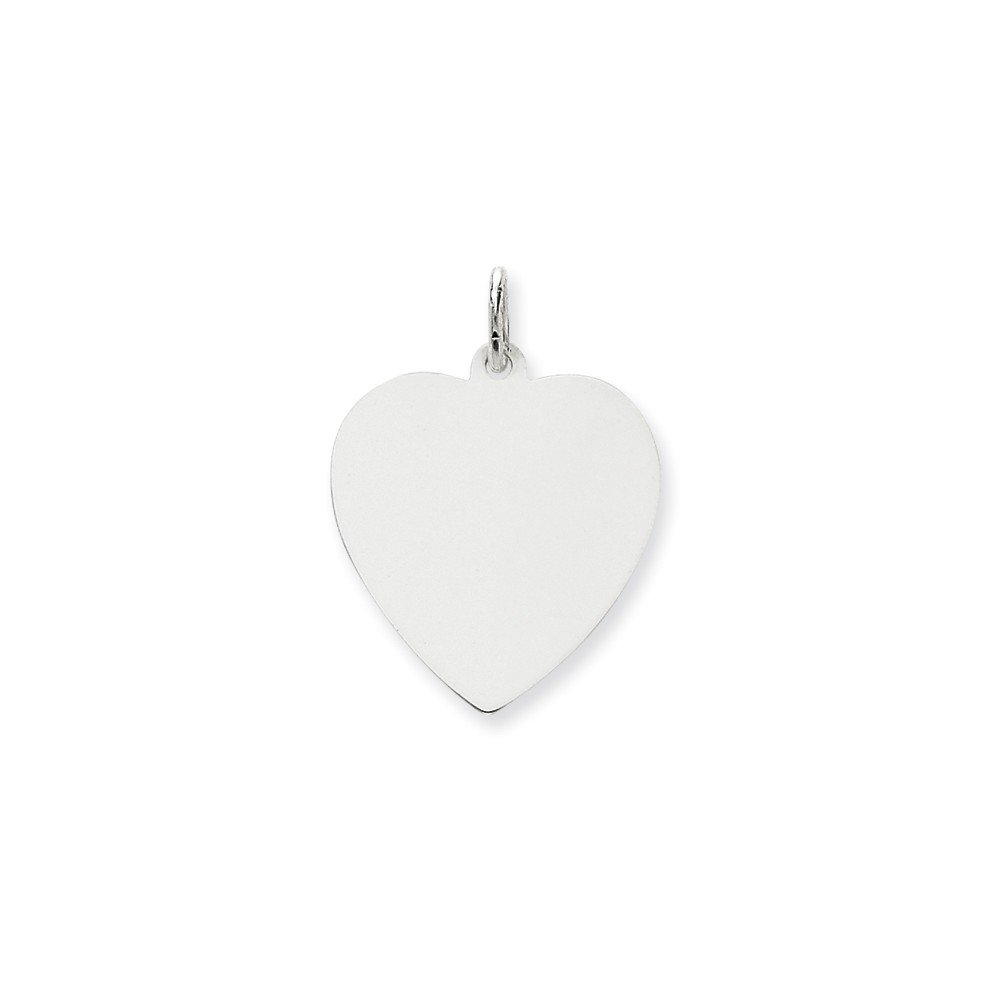 14k White Gold .018 Gauge Engravable Heart Pendant Charm Necklace Disc Simple Shaped Plain Fine Mothers Day Jewelry For Women Gifts For Her