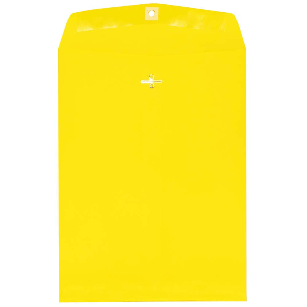 JAM PAPER 9 x 12 Colored Envelopes with Clasp Closure - Yellow Recycled - 100/Pack