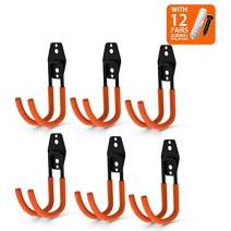 CoolYeah Steel Garage Storage Utility Double Hooks, Heavy Duty for Organizing Power Tools,Large J Hooks (pack of 6, 5.5 × 3.1 × 4.2 inches)