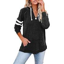 Flytop Womens Color Block Long Sleeve Hoodies V Neck Pullover Sweatshirt with Pocket Black