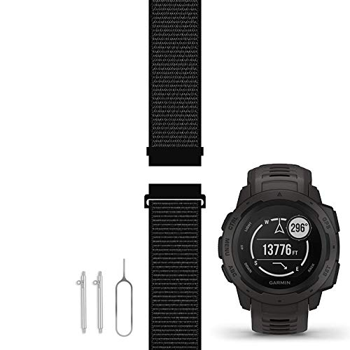 C2D JOY Compatible with Garmin Instinct Bands Replacement (Custom Quick Release Spring Bar and Pin Removal Tool) Sport Mesh Strap for Sports and Outdoors Nylon Watchband - 10#, M/4.8-7.7 in.