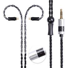 16 Cores Silver Plated Earphone Replacement Cable Metal Plug with Carbon Fiber Upgrade Cable for Ear-Hook Type Replacement Cable (2PIN, Black-3.5mm)