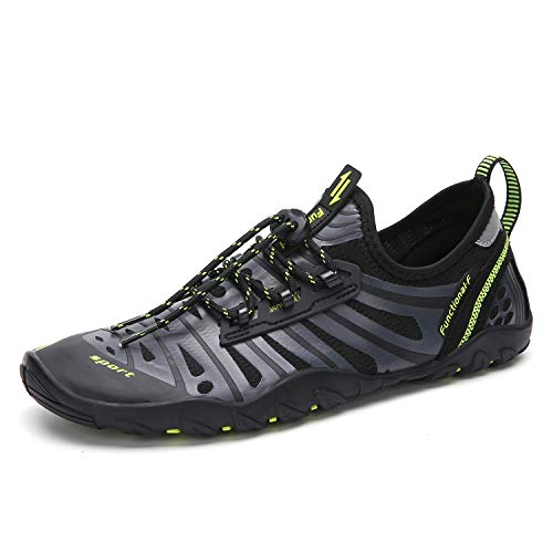 Seabone Men Women Minimalist Water Shoes Quick Dry Barefoot Aqua Shoes for Water Aerobics Swim Pool Walking Grey 11.5 M US Women / 10 M US Men