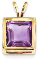 14k Yellow Gold 7mm Purple Amethyst Bezel Pendant Charm Necklace Gemstone Fine Jewelry For Women Gifts For Her