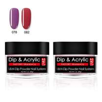 2pcs Dipping Powder Red Purple, 2 in 1 Dip Acrylic Nail Powder 1 Ounce/28g Each, Non-Toxic & Odor-Free, without UV LED Lamp Cured (DIP78+82)